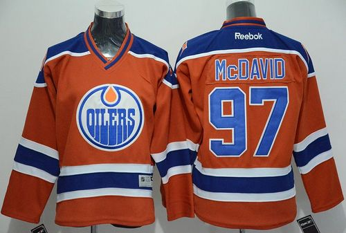Oilers #97 Connor McDavid Orange Stitched Youth NHL Jersey