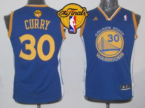 Revolution 30 Warriors #30 Stephen Curry Blue The Finals Patch Stitched Youth NBA Jersey