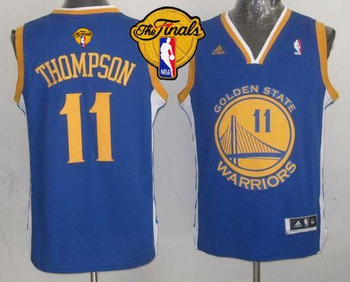 Revolution 30 Warriors #11 Klay Thompson Blue The Finals Patch Stitched Youth NBA Jersey