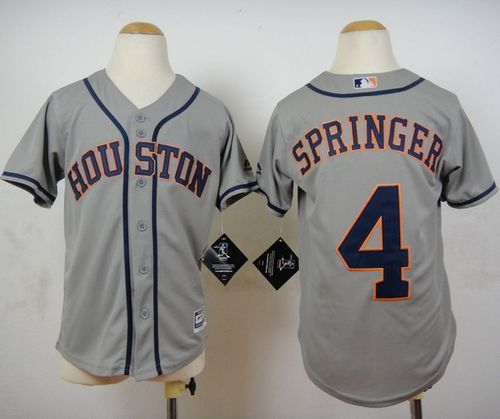 Astros #4 George Springer Grey Cool Base Stitched Youth MLB Jersey
