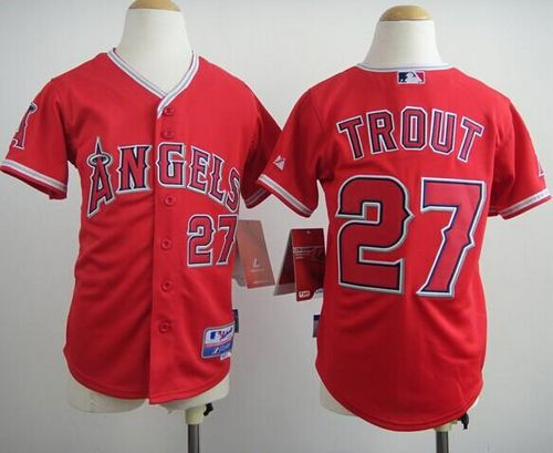 Angels #27 Mike Trout Red Cool Base Stitched Youth MLB Jersey