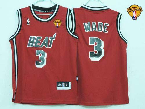 Heat Finals Patch #3 Dwyane Wade Red Hardwood Classics Nights Stitched Youth NBA Jersey