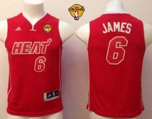 Heat Finals Patch #6 LeBron James Red Pride Swingman Stitched Youth NBA Jersey
