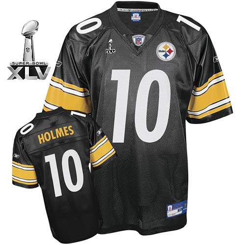 Steelers #10 Santonio Holmes Black Super Bowl XLV Stitched Youth NFL Jersey