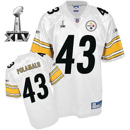 Steelers #43 Troy Polamalu White Super Bowl XLV Stitched Youth NFL Jersey