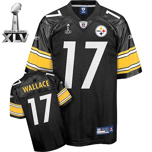 Steelers #17 Mike Wallace Black Super Bowl XLV Stitched Youth NFL Jersey