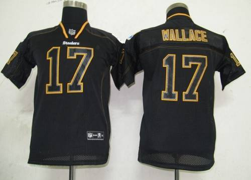 Steelers #17 Mike Wallace Lights Out Black Stitched Youth NFL Jersey