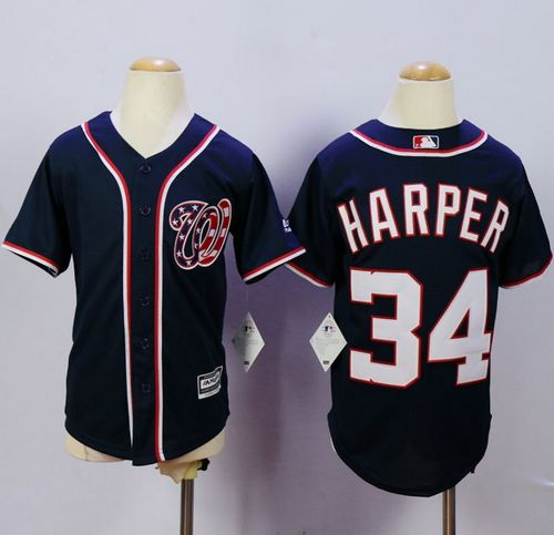 Nationals #34 Bryce Harper Blue Cool Base Stitched Youth MLB Jersey