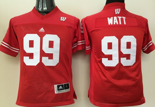 Badgers #99 J.J. Watt Red Stitched Youth NCAA Jersey