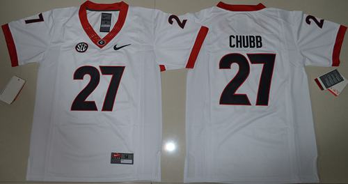 Bulldogs #27 Nick Chubb White Stitched Youth NCAA Jersey