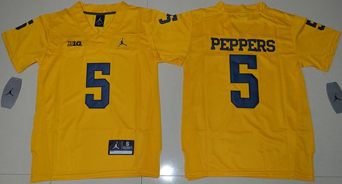 Wolverines #5 Jabrill Peppers Gold Jordan Brand Stitched Youth NCAA Jersey