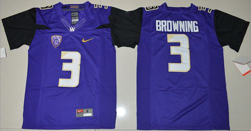 Huskies #3 Jake Browning Purple Limited Stitched Youth NCAA Jersey