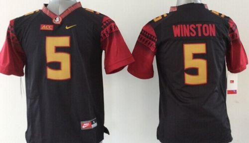 Seminoles #5 Jameis Winston Black Limited Stitched Youth NCAA Jersey