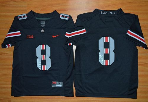 Buckeyes #8 Championship Black(Red No.) Limited Stitched Youth NCAA Jersey