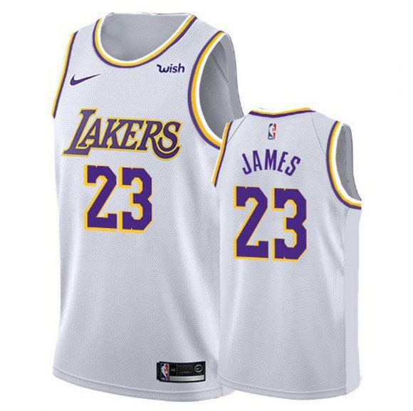 Youth Los Angeles Lakers #23 LeBron James White Stitched NBA Jersey