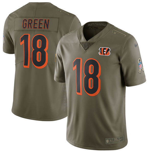 Youth Nike Cincinnati Bengals #18 A.J. Green Olive Salute To Service Limited Stitched NFL Jersey