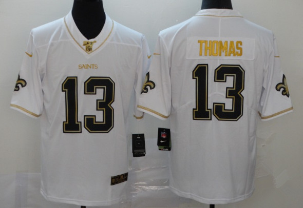 Youth New Orleans Saints #13 Michael Thomas White Gold 100th Season Stitched NFL Jersey