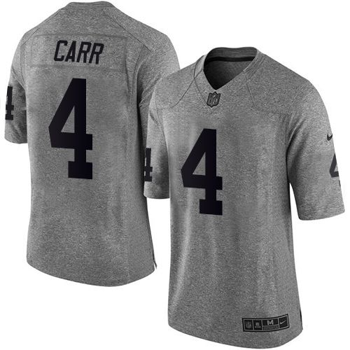 Youth Oakland Raiders #4 Derek Carr Gray Stitched NFL Jersey
