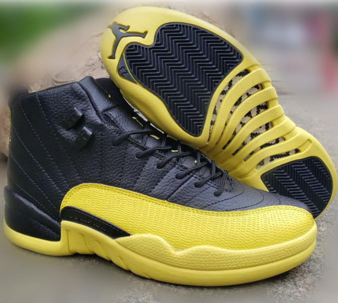 Men's Running Weapon Air Jordan 12 Yellow Shoes