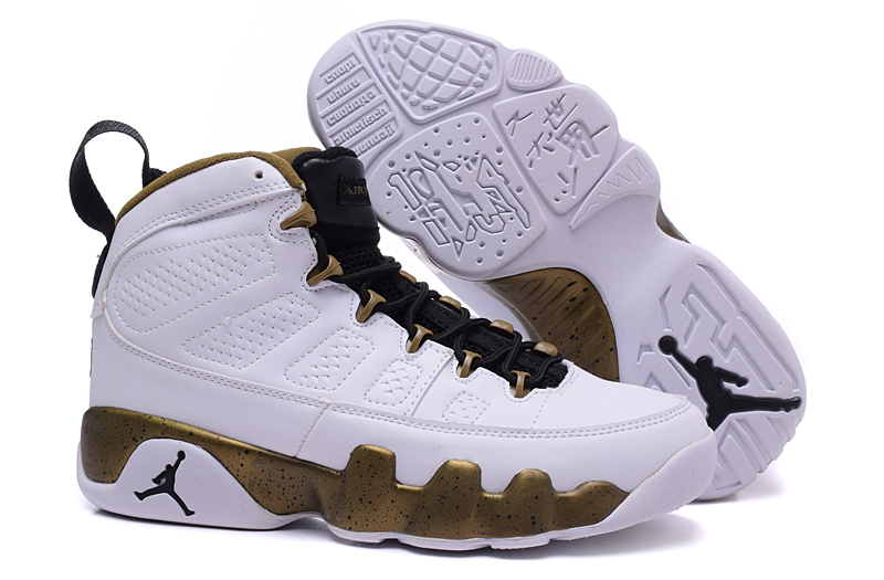 Running weapon Air Jordan 9 Shoes White and Gold Wholesale