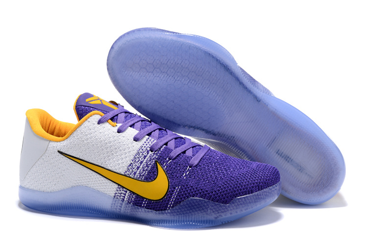Running weapon Newest Nike Kobe Bryant 11 Knitted White/Purple/Yellow