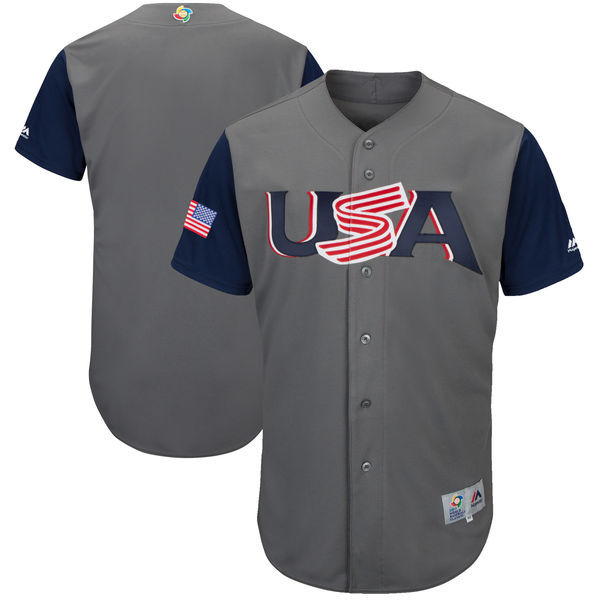 Men's USA Baseball Majestic Gray 2017 World Baseball Classic Team Stitched WBC Jersey