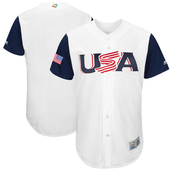 Men's USA Baseball Majestic White 2017 World Baseball Classic Team Stitched WBC Jersey