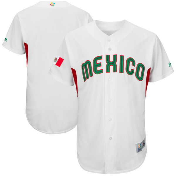 Men's Mexico Baseball Majestic White 2017 World Baseball Classic Team Stitched WBC Jersey